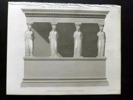 Rees 1820 Antique Print. Temple of Pandrosus at Athens, Greece